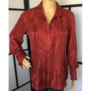 Coldwater Creek Red Shiny Collared Shirt Blouse S